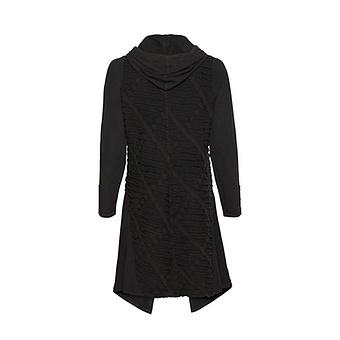 Shirt-Jacke mit Loch-Struktur, schwarz