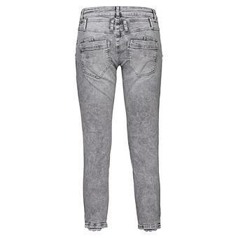Jeans mit Blumen Stickerei 64cm, light grey
