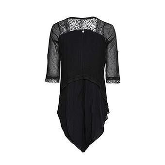Shirt-Jacke mit Loch-Spitze, schwarz