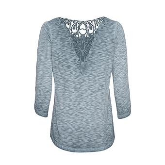 Shirt mit Häkelspitze, baltic