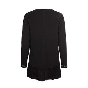 Shirt mit Volants, schwarz