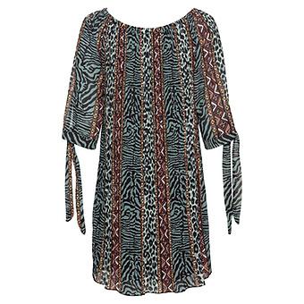 Plissee-Kleid im Allover-Animal-print, baltic