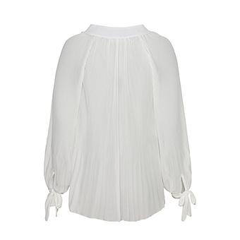 Bluse mit Plissee, offwhite