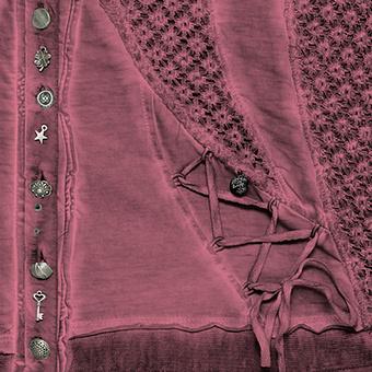 Shirtjacke mit Strukturspitze, granatapfel