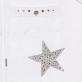 Bluse mit Knopf-Details, weiß