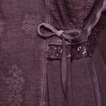 Shirtjacke mit Floralstickerei, plum