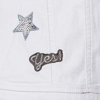 Jeansjacke mit Patches, weiß