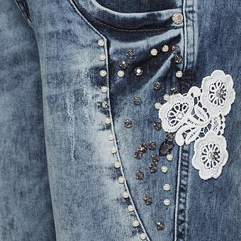 Jeans mit Glitzersteinen 72cm, denim