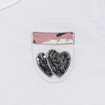 Basic Shirt mit Brusttasche 3/4 Arm, weiß