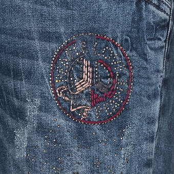 Jeans mit Stickerei, denim