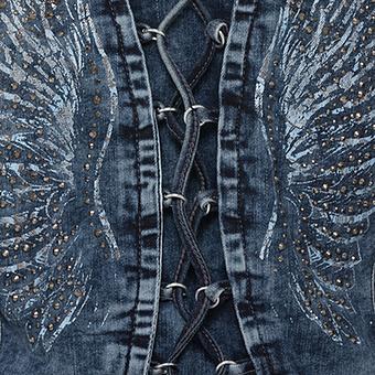 Jeansjacke mit Flügel-Print, denim