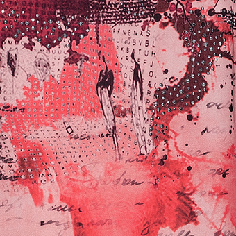 Top mit Alloverprint, flamingo