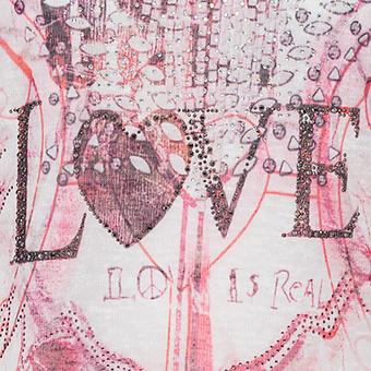 Langtunika mit Love-Print, magenta