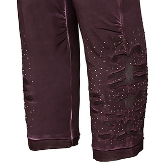 Baumwoll-Leggings mit Mesh-Design 55cm, plum