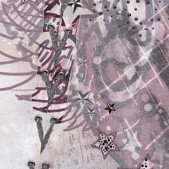 Print-Top mit Schnürung, plum