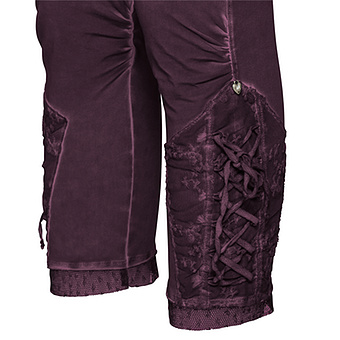 Baumwoll-Leggings mit Floral-Tüll 55cm, plum