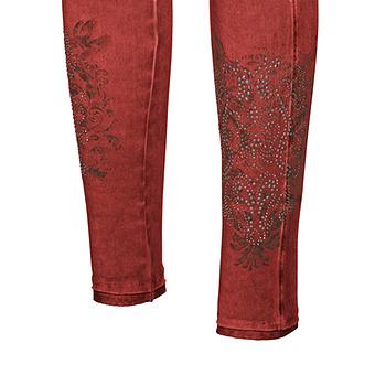 Baumwoll-Leggings mit Ziersteinen 72cm, redfox