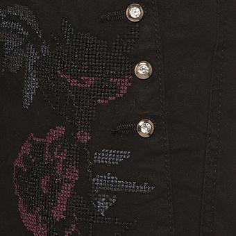 Hose mit Floralstickerei, schwarz