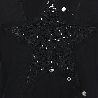 Offene Shirtjacke mit Loch-Optik, schwarz