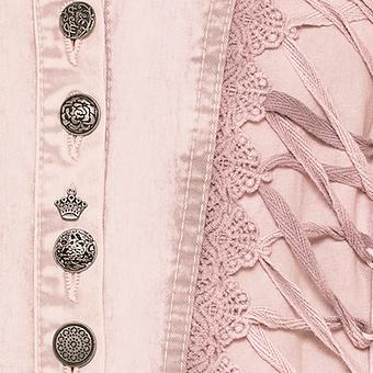 Jeansmantel mit Spitze und Schnürung, rosenholz