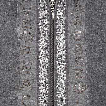 Sweatmantel mit Glitzer-Design, grau