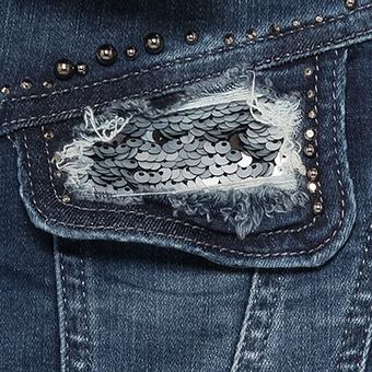 Jeansmantel mit Perlen, denim