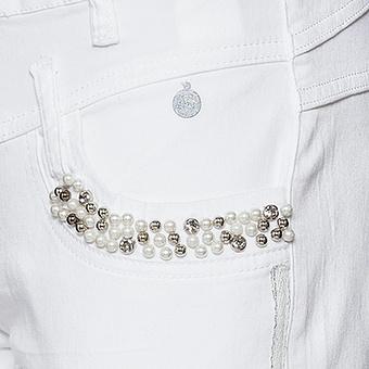 Hose mit Perlen, weiss