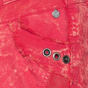 Rock mit Netz-Optik und Nieten-Design, blutorange stonewashed