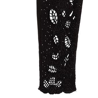 Hose mit Floral-Design, schwarz