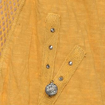 Tunikashirt mit Netz und Steinen, safran