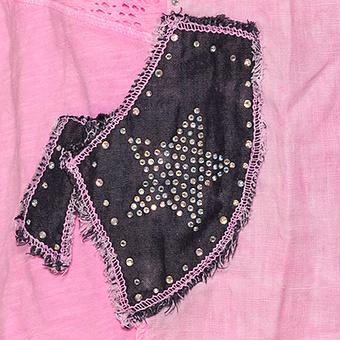 Crash-Bluse mit Patches, neonpink