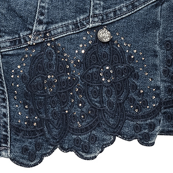 Jeansjacke mit Floralstickerei, dark denim