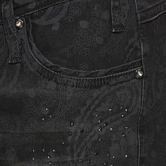 Hose mit Floralprint und Glitzersteinchen 80cm, grau