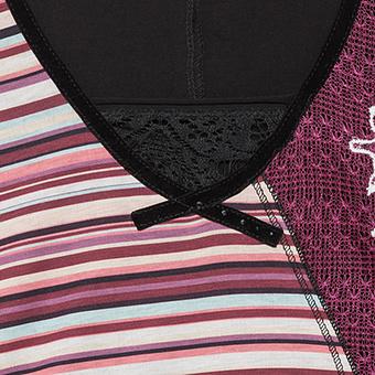 Tunikashirt mit floralem Design und Streifen, magnet