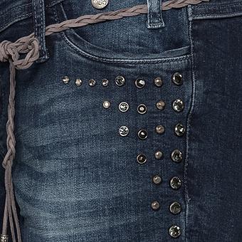 Jeans mit geflochtenem Zierband 78cm , denim