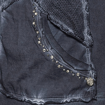 Sweat-Jacke Struktur-Elementen, rauchblau