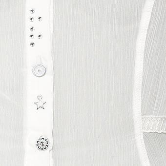 Bluse mit besticktem Tüll und Schnürung, offwhite