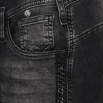 Jeans mit Galonstreifen 80cm, dunkelgrau