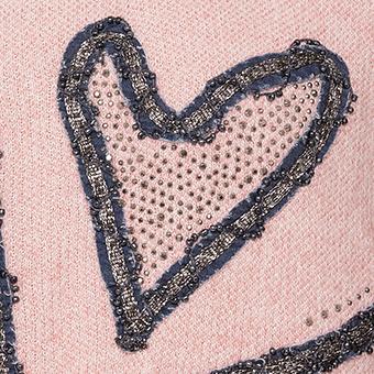 Strickpullover mit Denim-Patches, rosenholz-melange