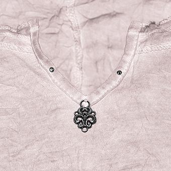 Crash-Shirt mit Floralspitze, rosenholz