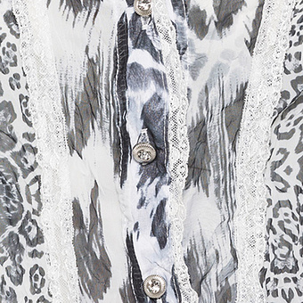 Bluse im Animal-Print, offwhite