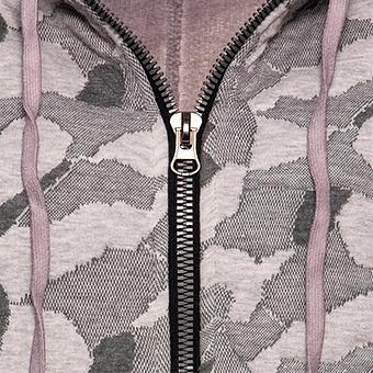Sweat-Jacke in Camouflage-Optik, dustyrose