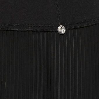 Top mit Plissee- Chiffonsaum, schwarz