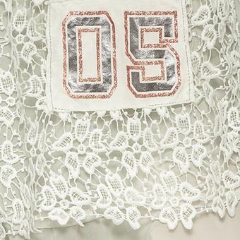 Shirt mit Floral-Spitze und ¾ Arm, offwhite