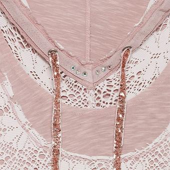 Basic Shirt mit Spitze, rosenholz stonewashed
