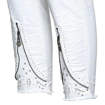 Hose mit Deko-Reißverschluss 64cm, weiss