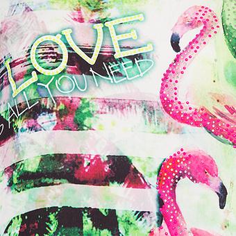 Kapuzenshirt mit Flamingoprint, golfgrün