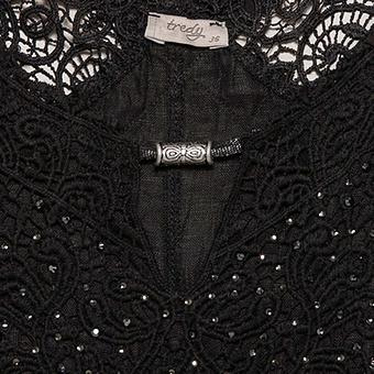 Kleid mit Leinen und Häkelspitze, schwarz