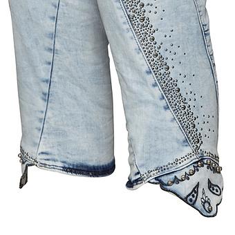 Sweat-Jeans mit Nieten 55cm, bleached