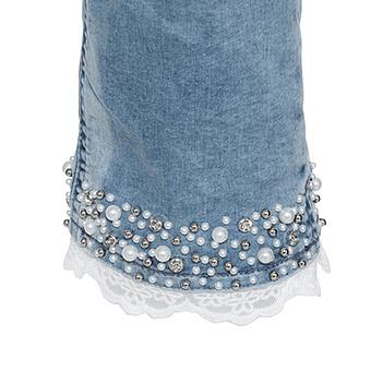 Sweat-Jeans mit Perlen-Abschluss, light blue